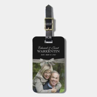 Happy Couple Photo Silver Ribbon Anniversary Luggage Tag