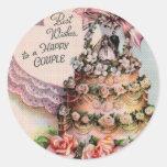 Happy Couple Wedding Cake Classic Round Sticker