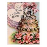 Happy Couple Wedding Cake Postcard