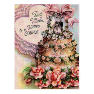 Happy Couple Wedding Cake Postcard