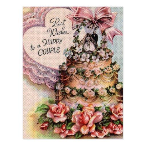 Happy Couple Wedding Cake Post Card