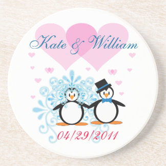 Happy Couple Wedding Penguin Coaster - Customizabl