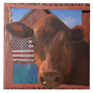 Happy Cow 2 From West Marin Ceramic Tile