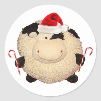 Happy Cow Christmas Sticker