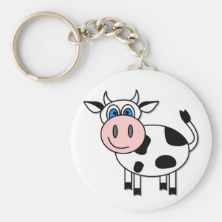 Happy Cow - Customizable! Basic Round Button Key Ring