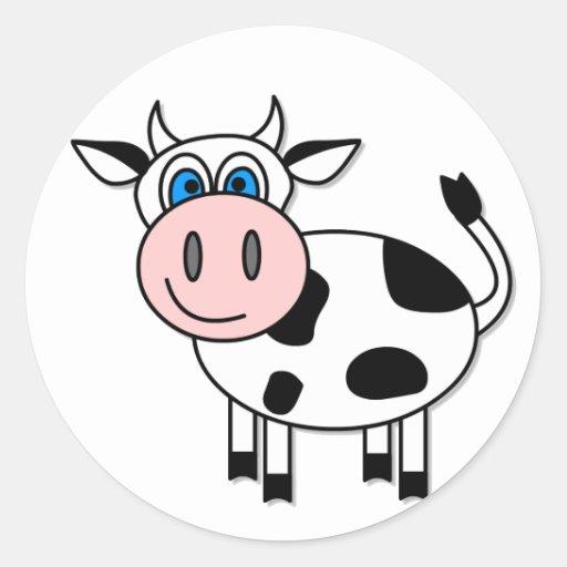Happy Cow - Customizable! Round Stickers