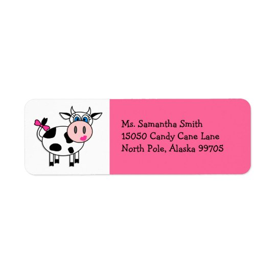 Happy Cow Girl Pink Return Address Label