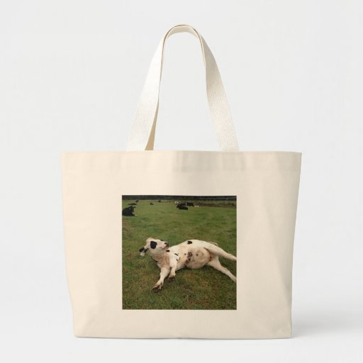 happy cow organic farm tote bag