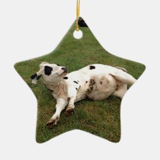 happy cow organic farm ceramic star decoration