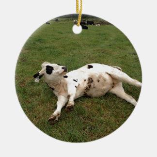 happy cow organic farm christmas ornament