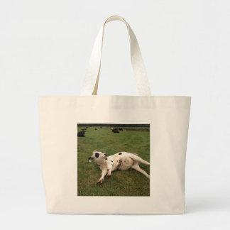 happy cow organic farm jumbo tote bag