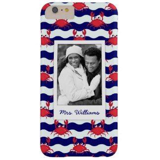 Happy Crabs Pattern | Your Photo & Name Barely There iPhone 6 Plus Case