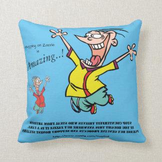 Happy Crazed Boy Promotional Copy Text Throw Pillow