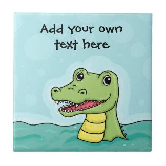 Happy Crocodile customisable Small Square Tile