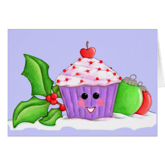Happy Cupcake Christmas Greeting Card