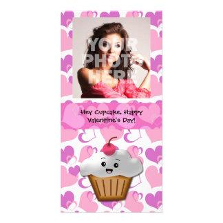 Happy Cupcake Valentine Photo Greeting Card