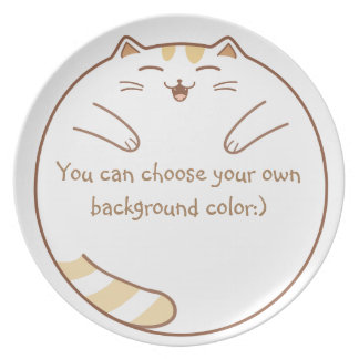 Happy, Cute, and Fat Cat Wants to Eat! Plate