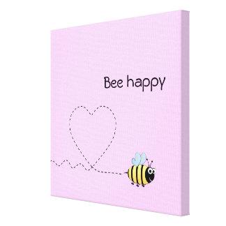 Happy cute bee cartoon pun pink canvas print