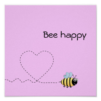 Happy cute bee cartoon pun pink poster