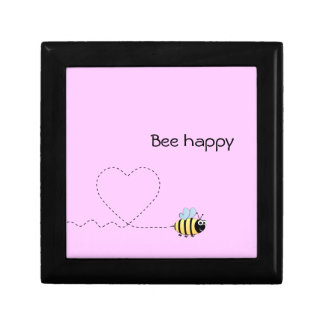 Happy cute bee cartoon pun pink small square gift box