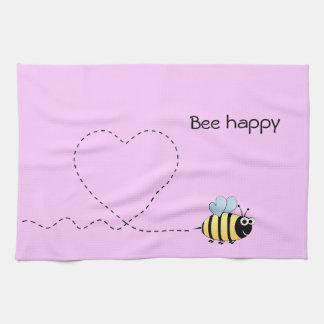 Happy cute bee cartoon pun pink tea towel