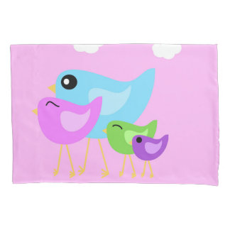 Happy Cute Bird family purple pillowcase