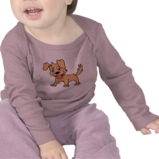Happy Cute Brown Puppy Dog Tongue Out T-shirt