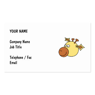 Happy Cute Giraffe. Cartoon Animal. Pack Of Standard Business Cards