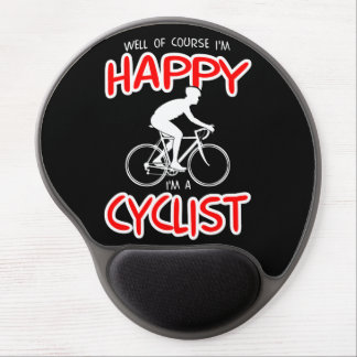 Happy Cyclist (wht) Gel Mouse Pad