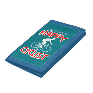 Happy Cyclist (wht) Trifold Wallet