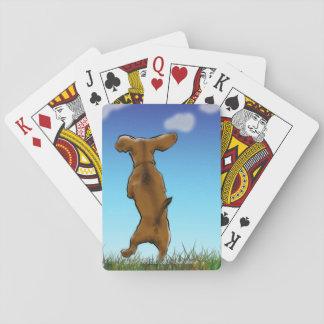 Happy Dachshund playing cards