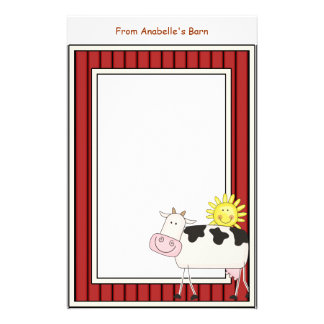 Happy Dairy Cow Barn Red Frame Kids Writing Paper Personalised Stationery