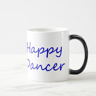 Happy Dancer blue script Magic Mug