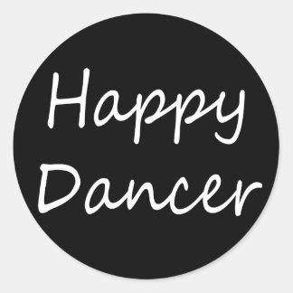 Happy Dancer bw script Classic Round Sticker