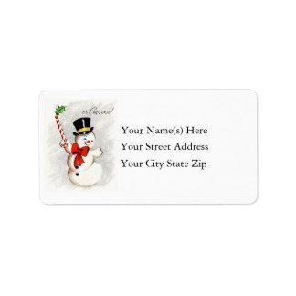 Happy Dancing Christmas Snowman Address Label