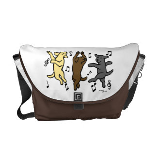 Happy Dancing Lab Trio Cartoon Courier Bag