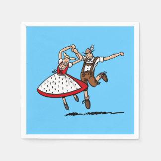 Happy Dancing Oktoberfest Couple Disposable Napkin