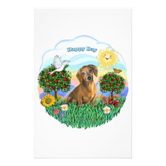 Happy Day - Brown Dachshund Personalized Stationery