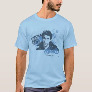 Happy Days 'Chicks Ride Free' Fonz. T-Shirt