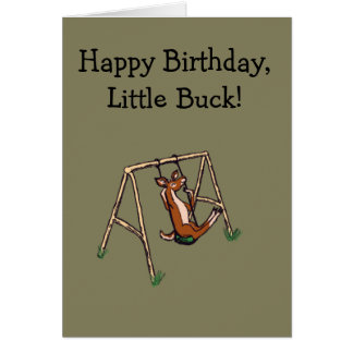 Happy Deer on a Swing Card