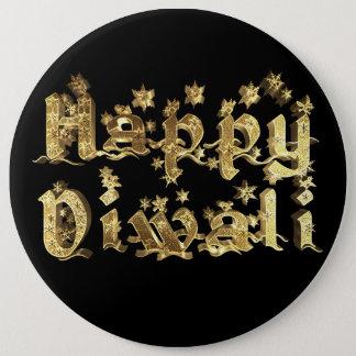 Happy Diwali Elegant Black Gold Star Typography 6 Cm Round Badge