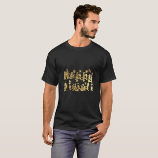Happy Diwali Elegant Black Gold Star Typography T-Shirt
