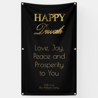 Happy Diwali Elegant Black Gold Typography Banner