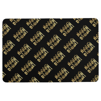 Happy Diwali Elegant Black Gold Typography Floor Mat