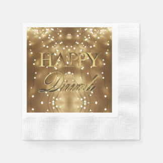 Happy Diwali Festival of Lights Gold Typography Paper Napkin