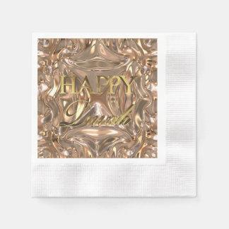 Happy Diwali Festival of Lights Gold Typography Paper Serviettes
