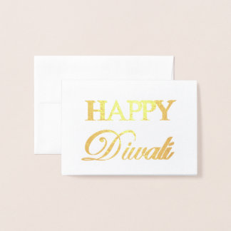 Happy Diwali Gold Foil Elegant Typography Foil Card