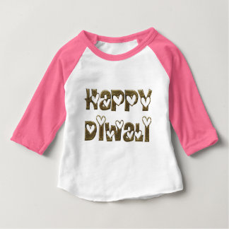 Happy Diwali Greeting Cute Hearts Typography Baby T-Shirt