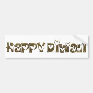 Happy Diwali Greeting Cute Hearts Typography Bumper Sticker