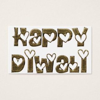 Happy Diwali Greeting Cute Hearts Typography Business Card